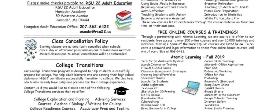 RSU 22 Course Offerings for Fall 2019